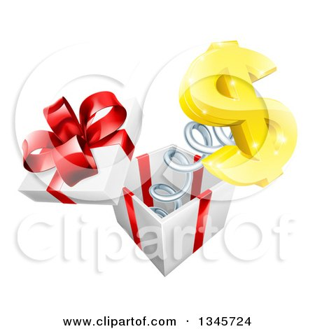 Clipart of a 3d Gold Dollar Currency Symbol Popping out of a Gift Box - Royalty Free Vector Illustration by AtStockIllustration