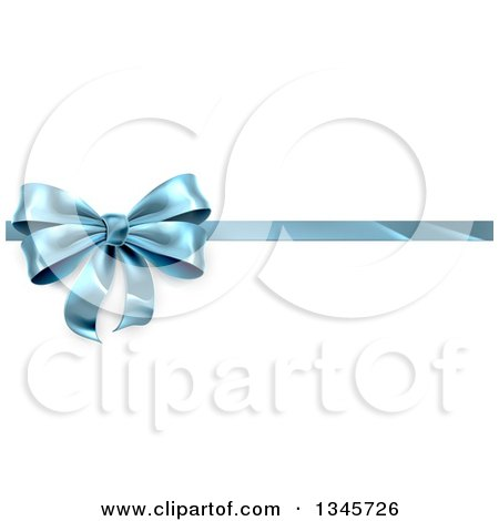 Clipart of a 3d Blue Christmas, Birthday or Other Holiday Gift Bow and Ribbon over Shaded White - Royalty Free Vector Illustration by AtStockIllustration