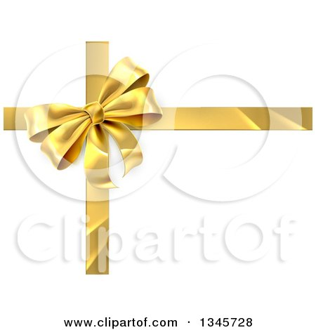 Clipart of a 3d Gold Christmas, Birthday or Other Holiday Gift Bow and Ribbon over Shaded White - Royalty Free Vector Illustration by AtStockIllustration