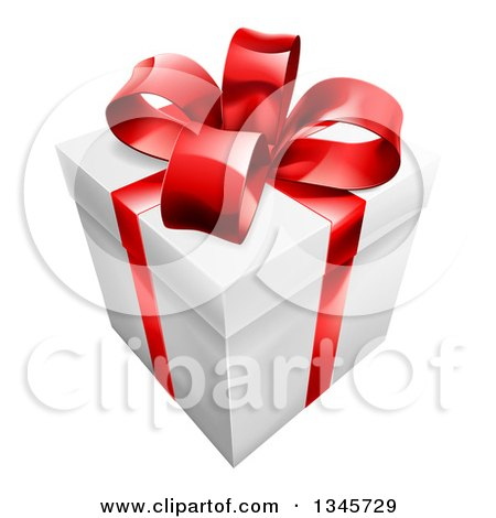 Clipart of a 3d Gift Box with a Red Bow - Royalty Free Vector Illustration by AtStockIllustration