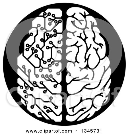 Clipart of a Black and White Half Human, Half Artificial Intelligence Circuit Board Brain - Royalty Free Vector Illustration by AtStockIllustration