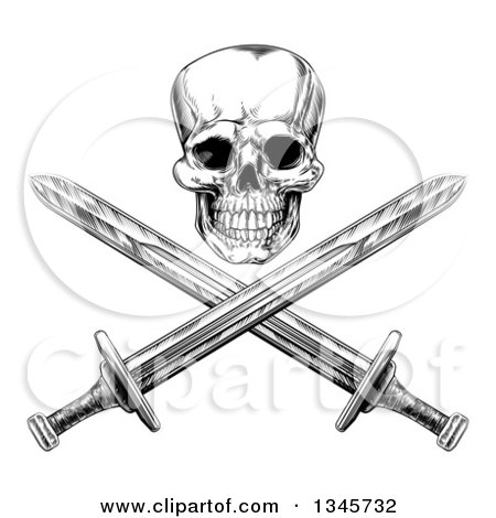 Clipart of a Black and White Engraved Pirate Skull over Cross Swords 2 - Royalty Free Vector Illustration by AtStockIllustration