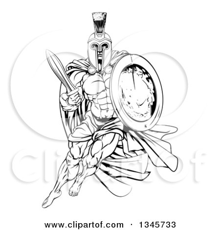 Clipart of a Black and White Strong Spartan Trojan Warrior Mascot with a Cape, Running with a Sword and Shield - Royalty Free Vector Illustration by AtStockIllustration