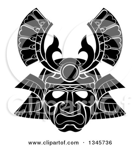 Clipart of a Black and White Asian Samurai Mask - Royalty Free Vector Illustration by AtStockIllustration