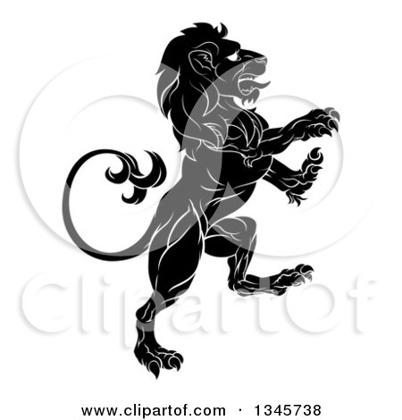 Clipart of a Black and White Rampant Lion - Royalty Free Vector Illustration by AtStockIllustration
