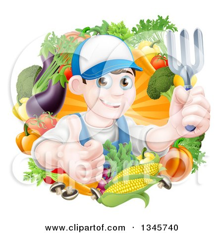 Clipart of a Young Brunette White Male Gardener in Blue, Holding up a Garden Fork and Giving a Thumb up in a Wreath of Produce - Royalty Free Vector Illustration by AtStockIllustration