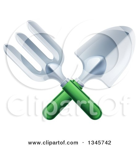 Clipart of a Crossed Green Handled Garden Fork and Trowel Spade - Royalty Free Vector Illustration by AtStockIllustration