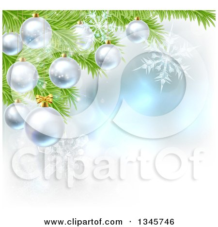 Clipart of a Christmas Background with 3d Bauble Ornaments Suspended from a Tree over Magic Lights and Snowflakes - Royalty Free Vector Illustration by AtStockIllustration