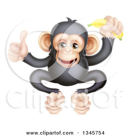 Clipart of a Cartoon Black and Tan Happy Baby Chimpanzee Monkey Holding a Banana and Giving a Thumb up - Royalty Free Vector Illustration by AtStockIllustration