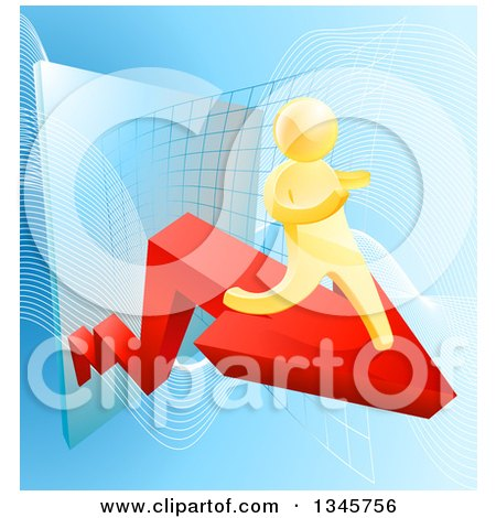 Clipart of a 3d Gold Man Running on a Red Arrow over Graphs on Blue - Royalty Free Vector Illustration by AtStockIllustration