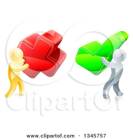Clipart of 3d Right and Wrong Gold Men Carrying X and Check Marks 2 - Royalty Free Vector Illustration by AtStockIllustration