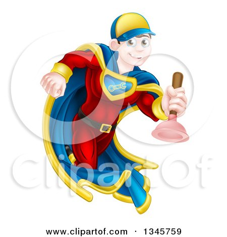 Clipart of a Cartoon Young Brunette White Male Plumber Super Hero Running with a Plunger - Royalty Free Vector Illustration by AtStockIllustration