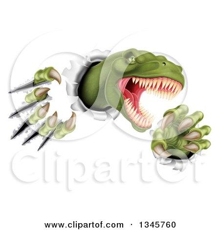 Clipart of a 3d Roaring Green Tyrannosaurus Rex Dinosaur Slashing Through Metal 3 - Royalty Free Vector Illustration by AtStockIllustration