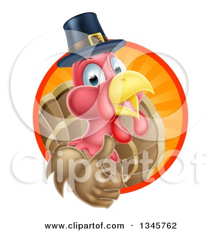 Clipart of a Pleased Thanksgiving Turkey Bird Wearing a Pilgrim Hat and Giving a Thumb up and Emerging from a Circle of Rays 2 - Royalty Free Vector Illustration by AtStockIllustration