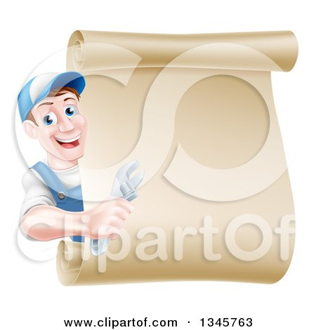 Clipart of a Happy Brunette Middle Aged Caucasian Mechanic Man in Blue, Holding an Adjustable Wrench and Looking Around a Blank Scroll Sign - Royalty Free Vector Illustration by AtStockIllustration