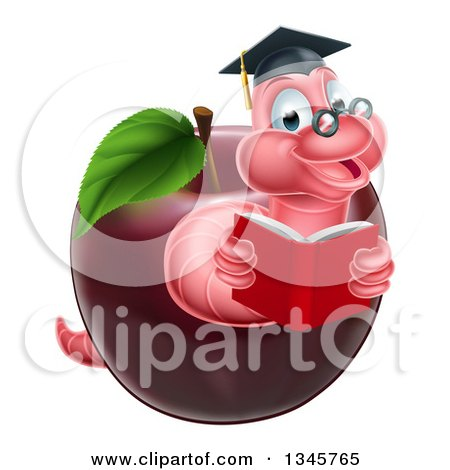 Clipart of a Cartoon Happy Pink Graduate Book Worm Reading in a Red Apple - Royalty Free Vector Illustration by AtStockIllustration