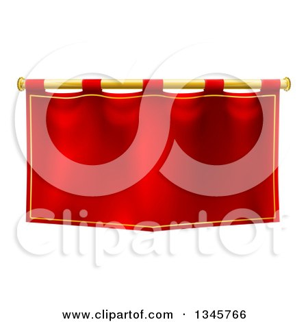 Clipart of a Medieval Red Banner on a Gold Rod - Royalty Free Vector Illustration by AtStockIllustration