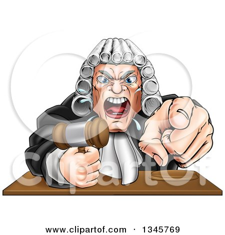 Clipart Of A Cartoon Fierce Angry Caucasian Male Judge Spitting Holding A Gavel And Pointing At The Viewer Royalty Free Vector Illustration