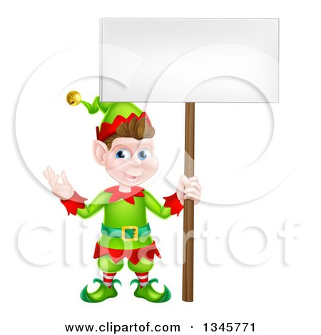 Clipart of a Cartoon Happy Male Christmas Elf Holding a Blank Sign - Royalty Free Vector Illustration by AtStockIllustration