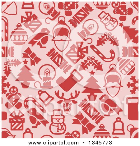 Clipart of a Seamless Background Pattern of Red Christmas Items on Pink - Royalty Free Vector Illustration by AtStockIllustration
