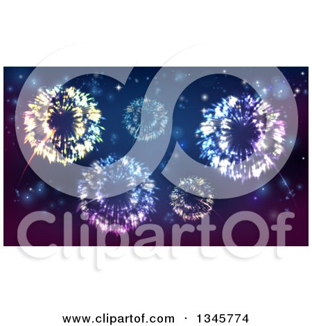 Clipart Of A Background Of Fireworks Bursting In The Sky Royalty Free Vector Illustration