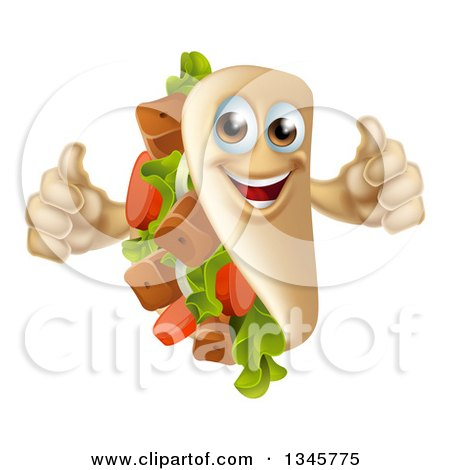 Clipart of a Cartoon Happy Souvlaki Kebab Sandwich Mascot Giving Two Thumbs up - Royalty Free Vector Illustration by AtStockIllustration
