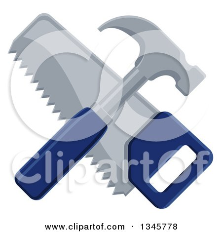 Clipart of a Crossed Blue Handled Hammer and Hand Saw - Royalty Free Vector Illustration by AtStockIllustration