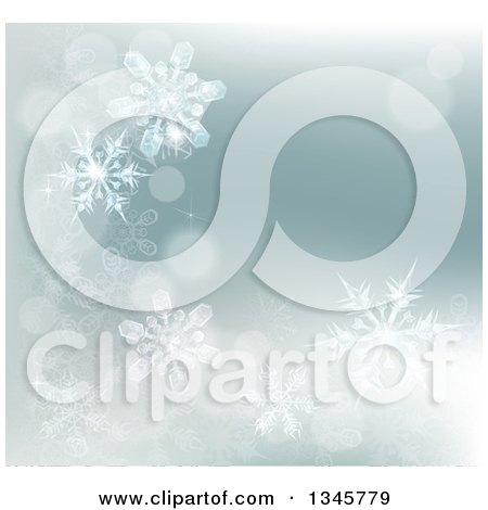 Clipart of a Winter Background with Bokeh Flares and Snowflakes - Royalty Free Vector Illustration by AtStockIllustration