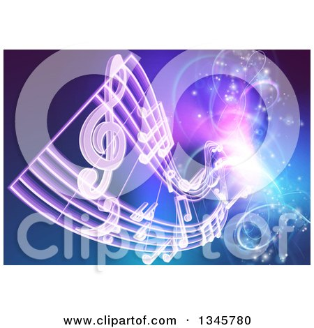 Clipart of Floating Sheet Music over Blue with Magical Lights - Royalty Free Vector Illustration by AtStockIllustration