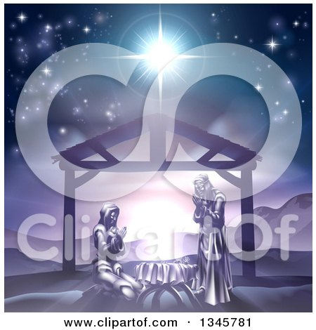Clipart Of Mary And Joseph Praying Over Baby Jesus Under The Star Of Bethlehem In Purple Tones Royalty Free Vector Illustration