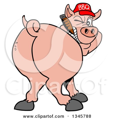 Clipart of a Cartoon Rear View of a Grinning Pig Looking Back, Smoking a Cigar, and Wearing a Bbq Hat - Royalty Free Vector Illustration by LaffToon