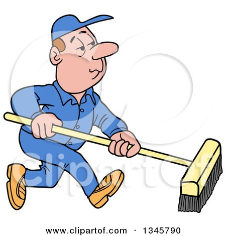 Clipart of a Cartoon White Male Janitor Using a Push Broom - Royalty Free Vector Illustration by LaffToon