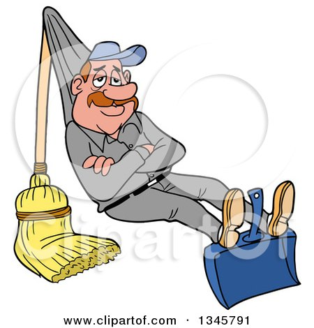 Clipart of a Cartoon Relaxed White Male Janitor Relaxing on a Broom and Dustpan Rigged like a Hammock - Royalty Free Vector Illustration by LaffToon