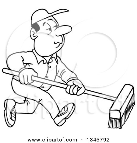 Outline Clipart of a Cartoon Black and White White Male Janitor Using a Push Broom - Royalty Free Lineart Vector Illustration by LaffToon