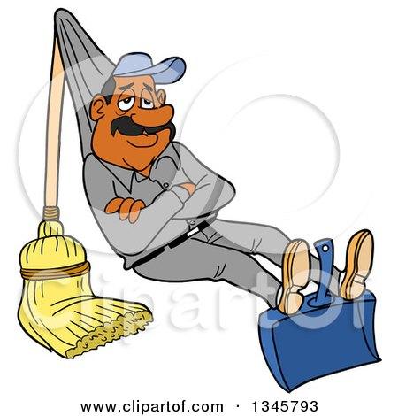 Clipart of a Cartoon Relaxed Black or Hispanic Male Janitor Relaxing on a Broom and Dustpan Rigged like a Hammock - Royalty Free Vector Illustration by LaffToon