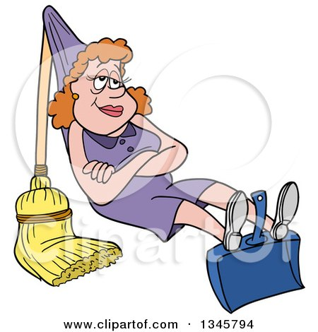 Clipart of a Cartoon White Housewife Relaxing on a Dustpan and Broom That She Rigged up like a Hammock - Royalty Free Vector Illustration by LaffToon