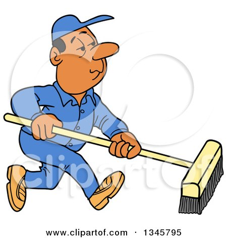 Clipart of a Cartoon Black or Hispanic Male Janitor Using a Push Broom - Royalty Free Vector Illustration by LaffToon