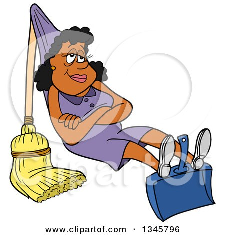 Clipart of a Cartoon Black Housewife Relaxing on a Dustpan and Broom That She Rigged up like a Hammock - Royalty Free Vector Illustration by LaffToon