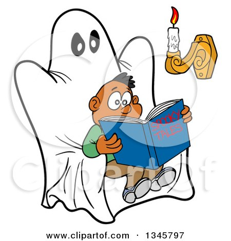 Clipart of a Cartoon Scared Black Boy Reading a Book of Spooky Tales on a Ghost Chair, with Candle Light - Royalty Free Vector Illustration by LaffToon