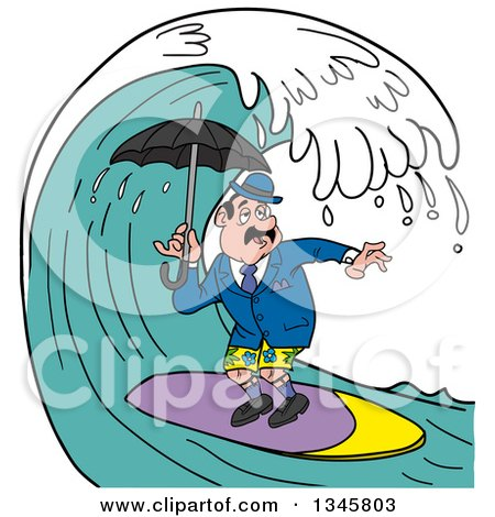 Clipart of a Cartoon Surfing English Man Holding an Umbrella Under a Wave - Royalty Free Vector Illustration by LaffToon