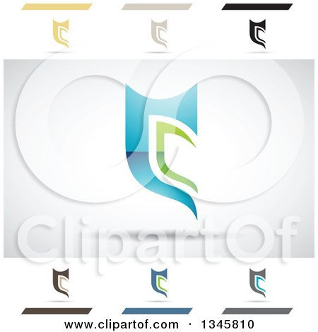 Clipart of Abstract Letter C Design Elements - Royalty Free Vector Illustration by cidepix