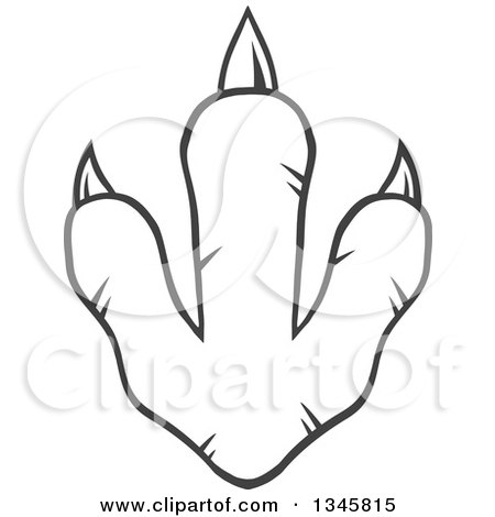 Clipart of a Black and White Lineart Raptor Dinosaur Foot Print - Royalty Free Vector Illustration by Hit Toon