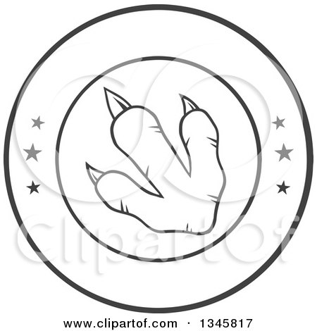 Clipart of a Black and White Lineart Raptor Dinosaur Foot Print in a Circle with Stars - Royalty Free Vector Illustration by Hit Toon