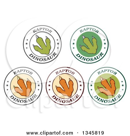 Clipart of Raptor Dinosaur Foot Print Labels with Stars and Text 2 - Royalty Free Vector Illustration by Hit Toon