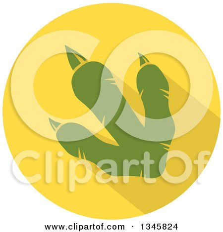 Clipart of a Flat Design Green Raptor Dinosaur Foot Print with a Shadow in a Yellow Circle - Royalty Free Vector Illustration by Hit Toon