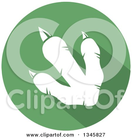 Clipart of a Flat Design White Raptor Dinosaur Foot Print with a Shadow in a Green Circle - Royalty Free Vector Illustration by Hit Toon