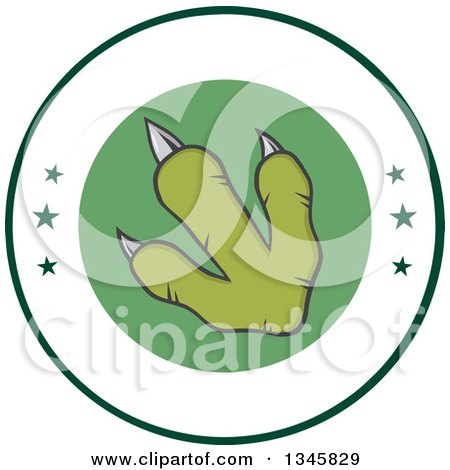 Clipart of a Green Raptor Dinosaur Foot Print on a Label with Stars - Royalty Free Vector Illustration by Hit Toon
