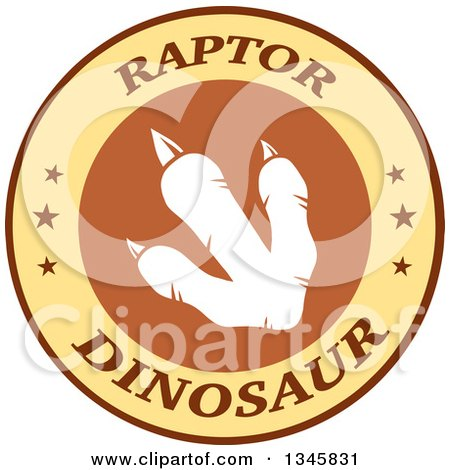 Clipart of a White Raptor Dinosaur Foot Print in a Brown and Yellow Label with Stars and Text - Royalty Free Vector Illustration by Hit Toon