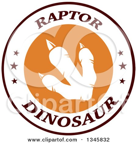 Clipart of a White Raptor Dinosaur Foot Print in a Circle on a Label with Stars and Text - Royalty Free Vector Illustration by Hit Toon