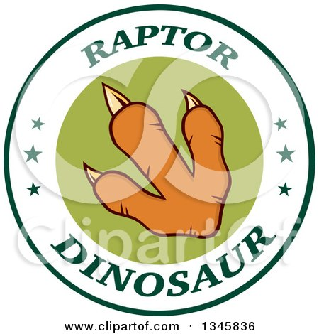 Clipart of an Orange Raptor Dinosaur Foot Print in a Label Circle with Stars and Text - Royalty Free Vector Illustration by Hit Toon